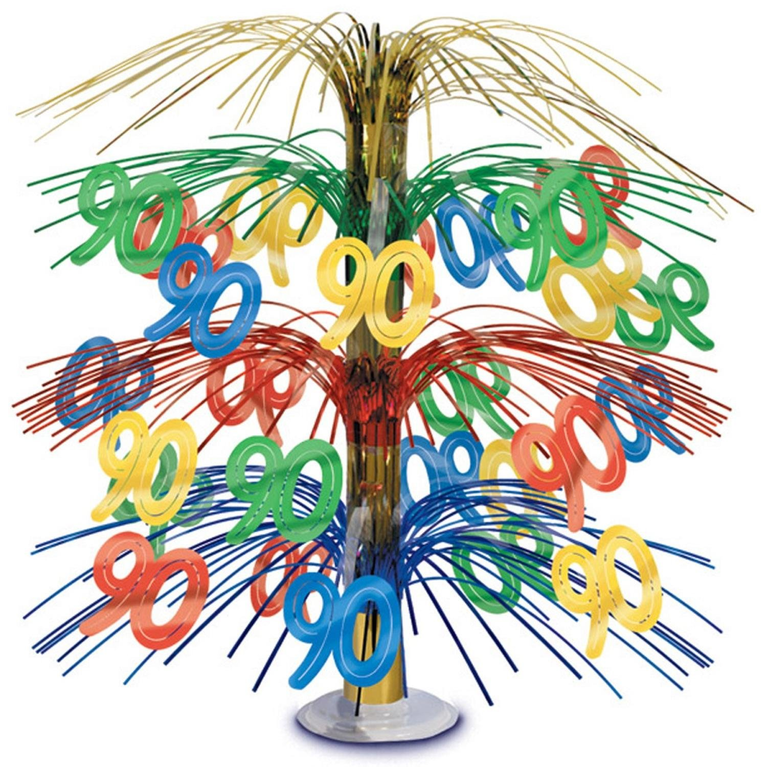 Pack of 6 Multi-Colored Happy ''90th'' Birthday Party Cascading Table Centerpieces 18''