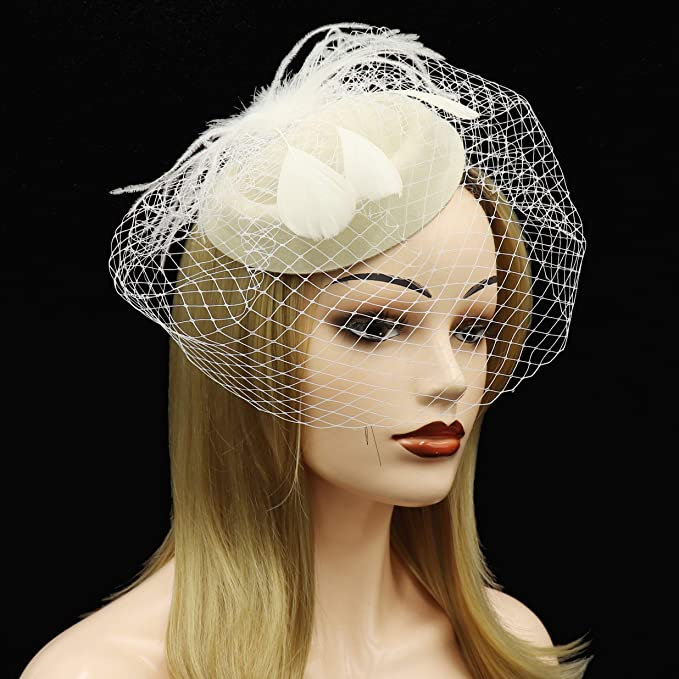 Umeepar Damen Bowknot Pillbox Fascinator Hut Hochzeit Tea Party H/üte mit Schleier Stirnband Clip