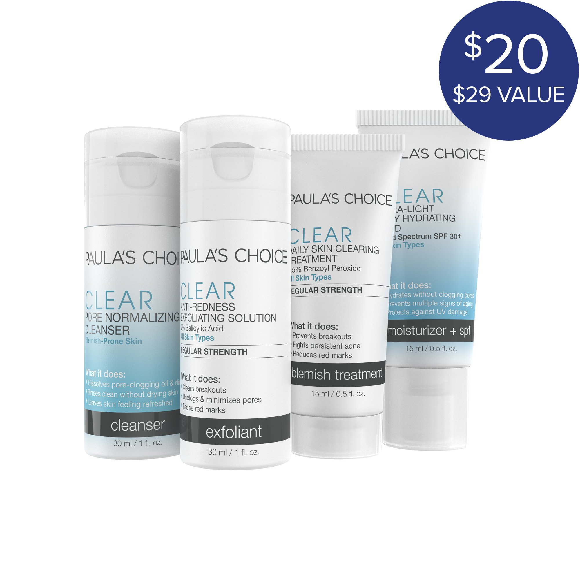 Paula's Choice-CLEAR Regular Strength Travel Kit and Ultra-Light Daily Fluid SPF 30+ Anti-Aging Moisturizer Travel-Size Blemish-Fighting Skin Care Products Plus Face Moisturizer with Sunscreen