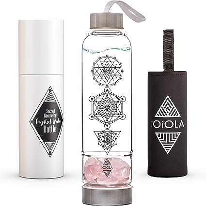 ioiola Botella de agua de cristal con geometría sagrada – reutilizable y respetuoso con el medio ambiente – ideal para agua estructurada, relajación, regalos de meditación, Varios Cystal Sizes - Separate Container,