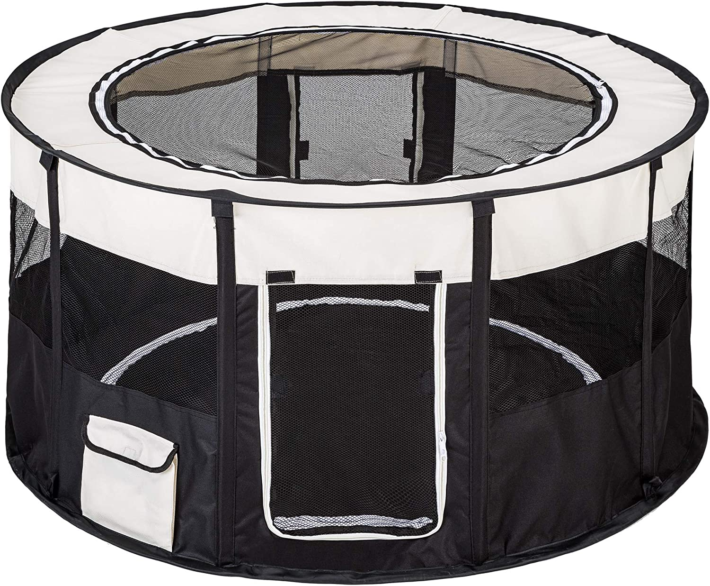 TecTake Parque para Perro Cachorros Corralito Jugar Animales Mascotas Plegable 114 x 60,5 cm (diámetro x Alto) (Negro   no. 402438)