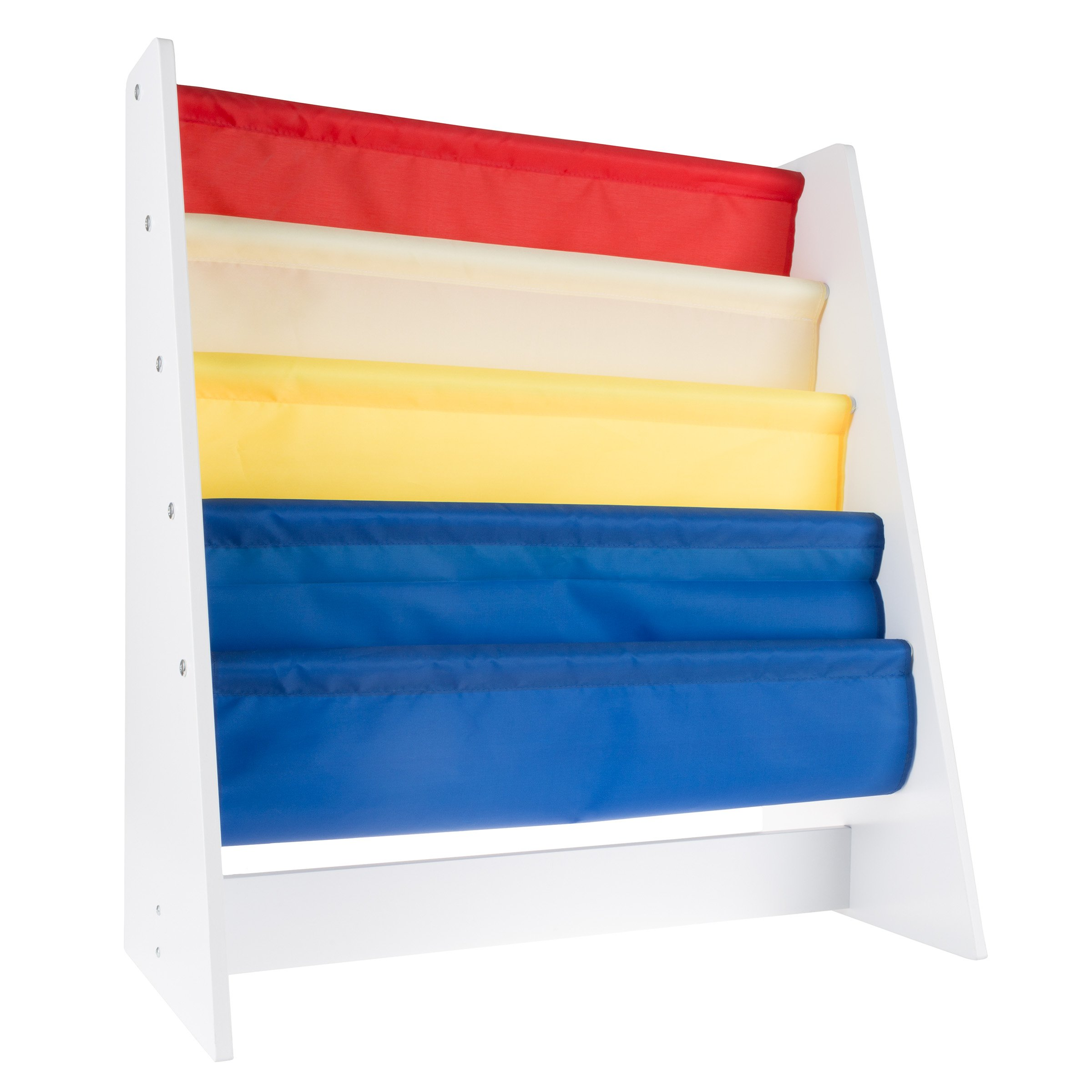 Hey! Play! Kids Bookshelf Storage Rack Fabric Sling Shelves White Wood Colored Bookcase Organizer for Books for Toddlers, Children