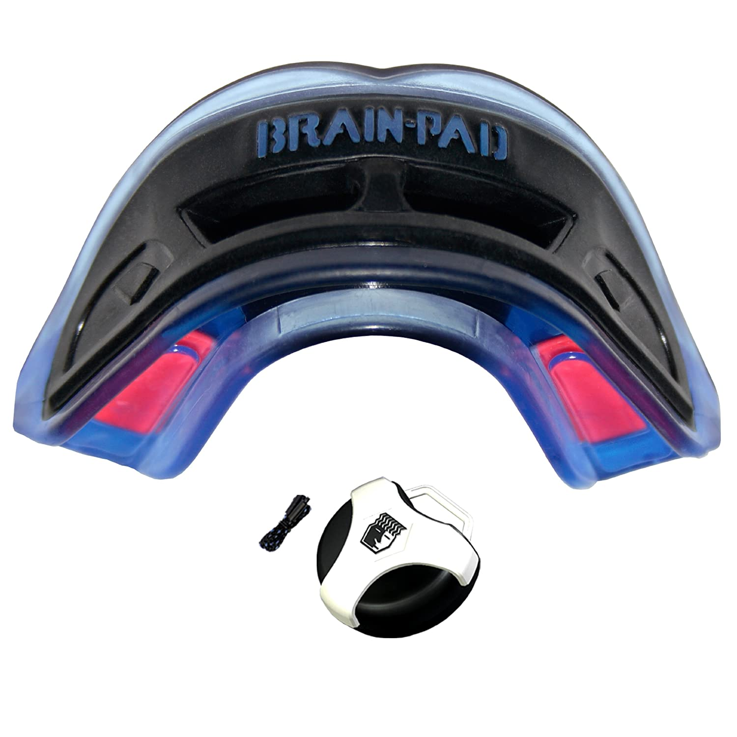 Youth Brain Pad Double Guard Strapped Mouthguard Black