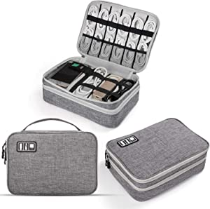 Electronics Travel Organizer, Jelly Comb Electronics Cable Organizer Bag Double Layer Travel Cable Storage Bag for Cables, Laptop Charger, Tablet (Up to 11'') and More-Thick Large(Grey)