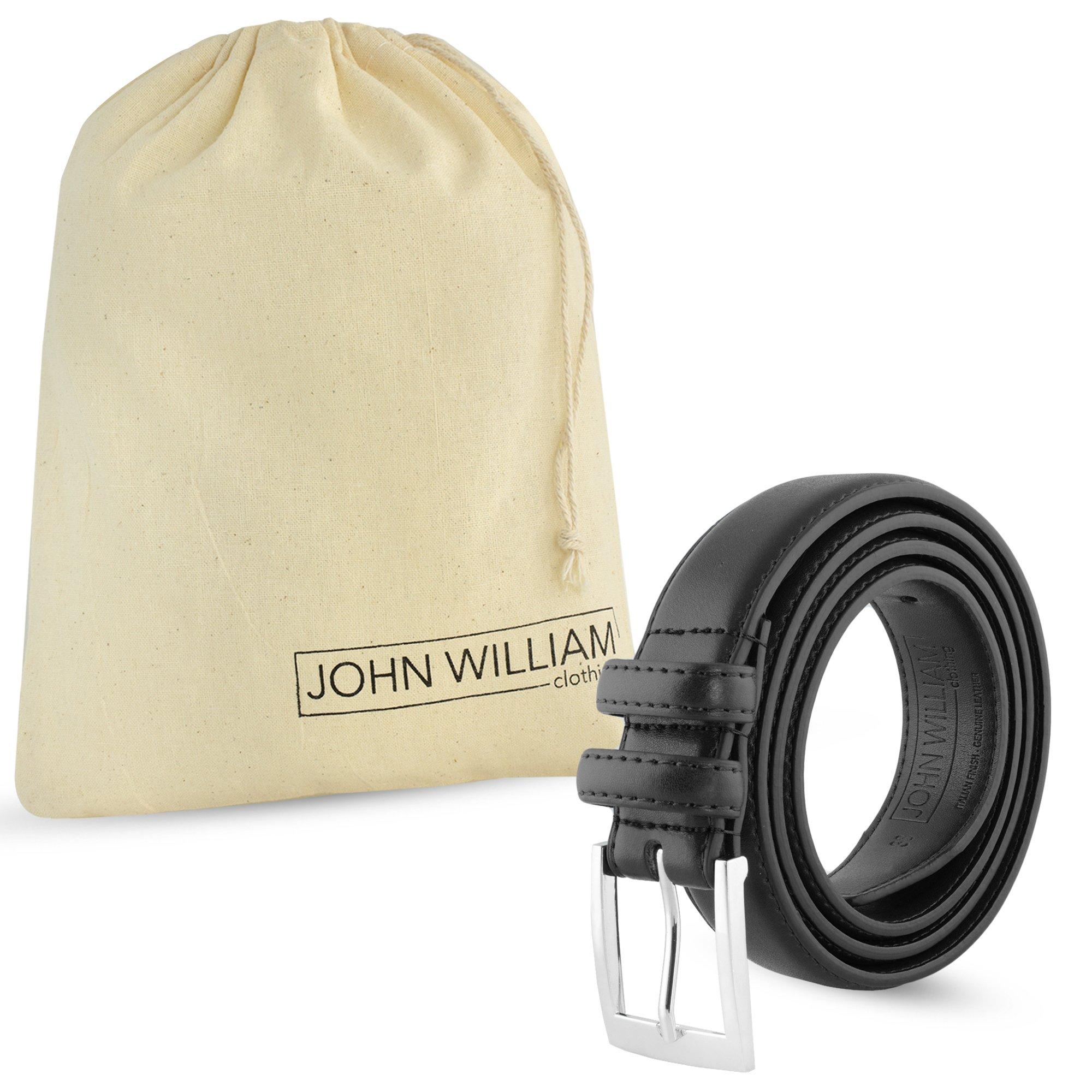 Leather Belts For Men - Mens Black Belt - 1.25'' Dress & Casual Men's Belt in Gift Bag - 36 by John William Clothing (Image #6)