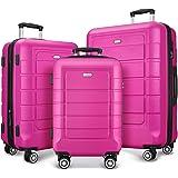 SHOWKOO Luggage Sets Expandable PC+ABS Durable Suitcase Double Wheels TSA Lock Megenta 3pcs