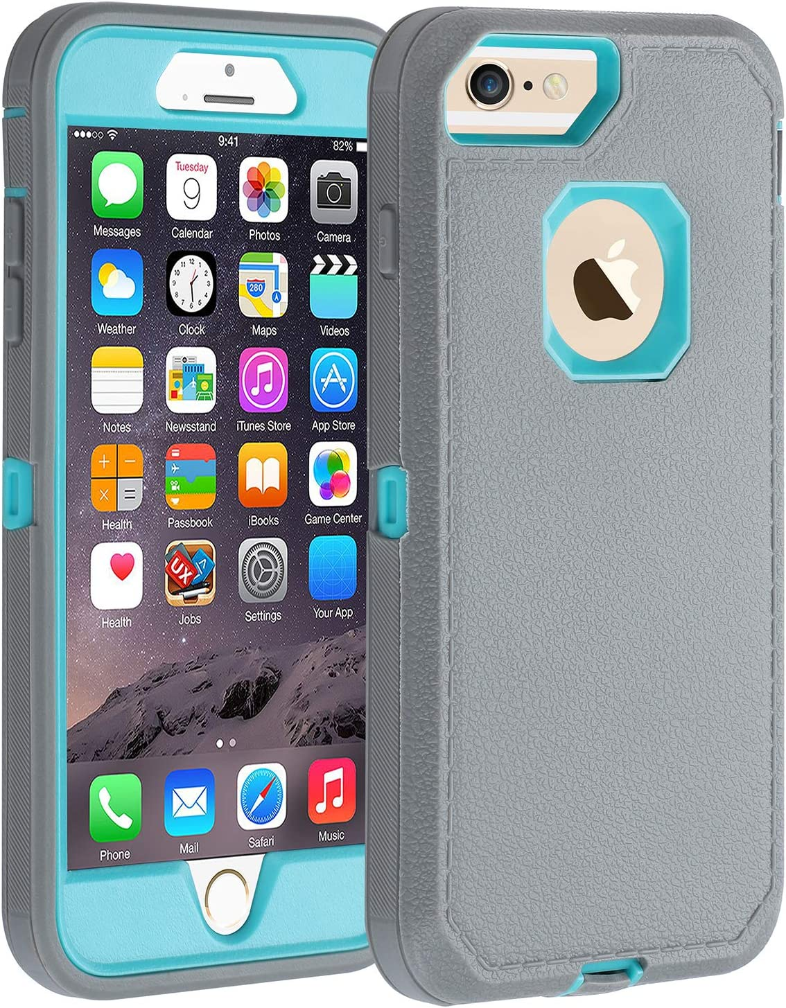 iPhone 6s Plus/6 Plus Case,Heavy Duty Armor 3 in 1 Rugged Cover with Screen Bumper Dust-Proof Shockproof Drop-Proof Scratch-Resistant Shell for iPhone 6Plus/6sPlus 5.5inch,Grey/Green