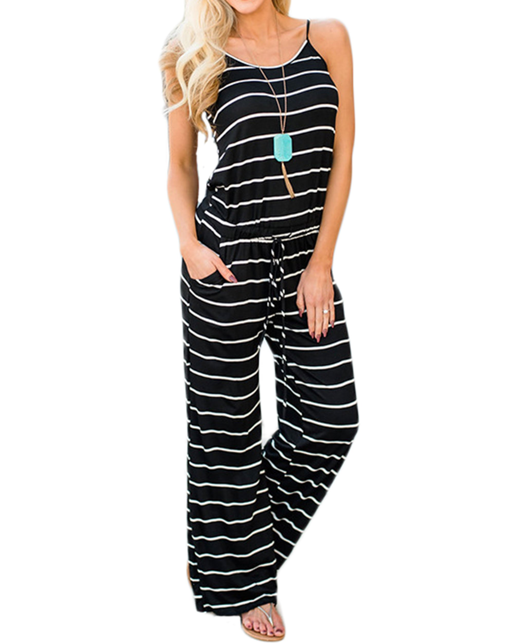 LUBERLIN Womens Flora Print Jumpsuits Halter Sleeveless Wide Long Pants Jumpsuit Rompers (Black Striped, XL)