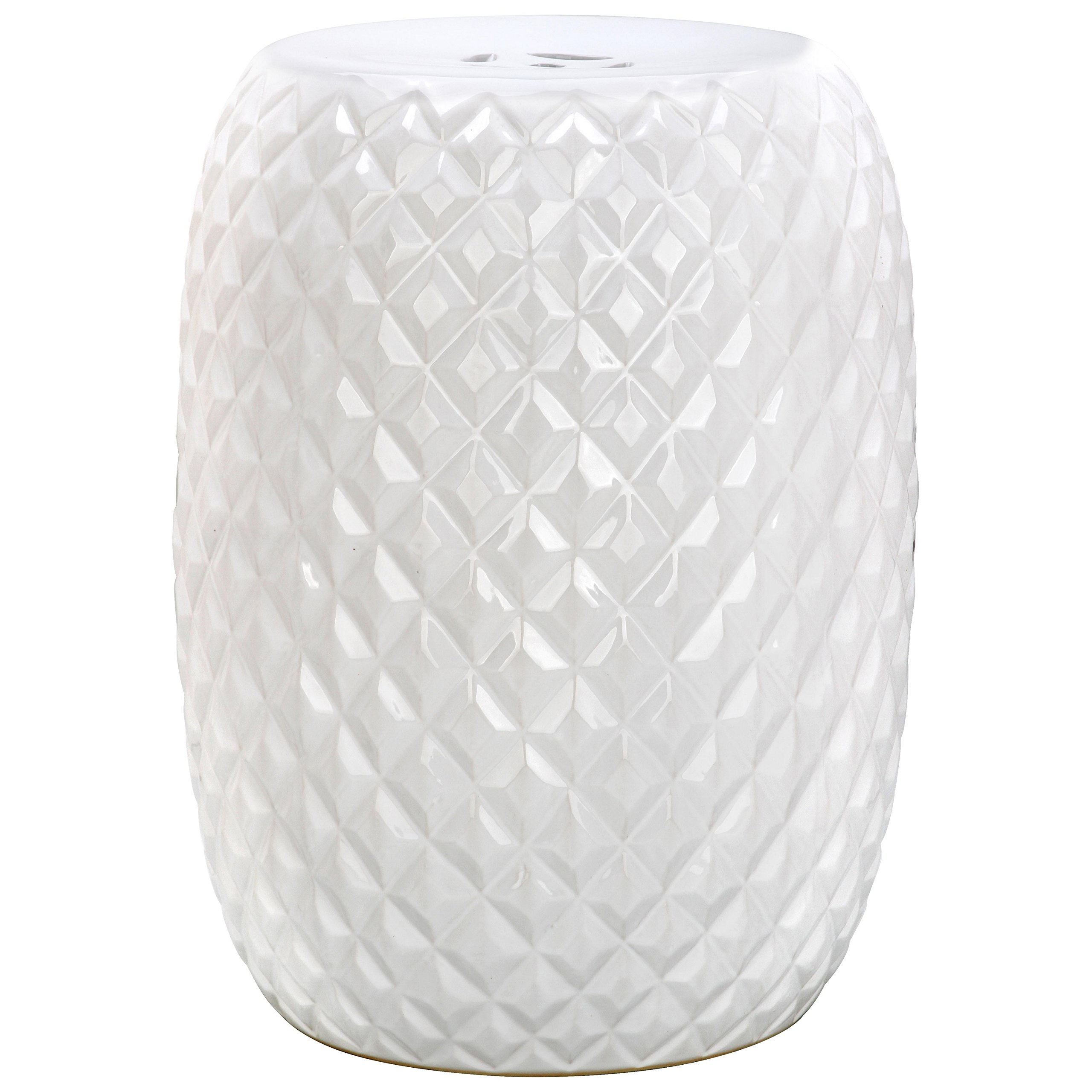 Safavieh Castle Gardens Collection Calla White Glazed Ceramic Garden Stool