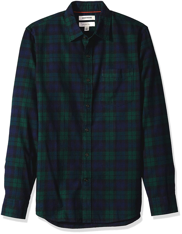 Goodthreads Mens Slim-Fit Long-Sleeve Brushed Flannel Shirt Brand