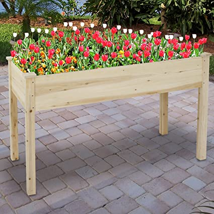 HOMGARDEN Wooden Raised Garden Bed Kit Elevated Planter Boxes Kit For  Vegetable Flower Fruits Herb Containers