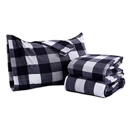 Berkshire Blanket Buffalo Plaid Microfleece Sheets, Queen best queen fleece sheets