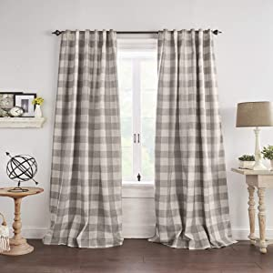 Elrene Home Fashions Grainger Buffalo Check Blackout Window Curtain Panel, 52