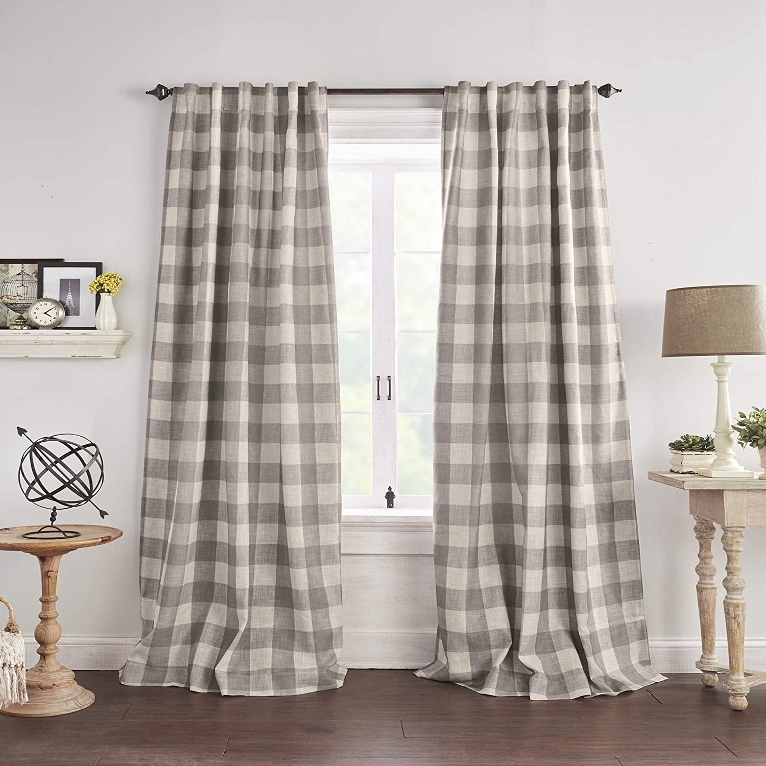 "Elrene Home Fashions Grainger Buffalo Check Blackout Window Curtain Panel, 52"" x 84"" (1, Gray"
