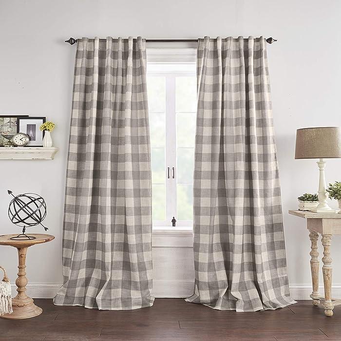 "Elrene Home Fashions Grainger Buffalo Check Blackout Window Curtain Panel, 52"" x 84"" (1, Gray"