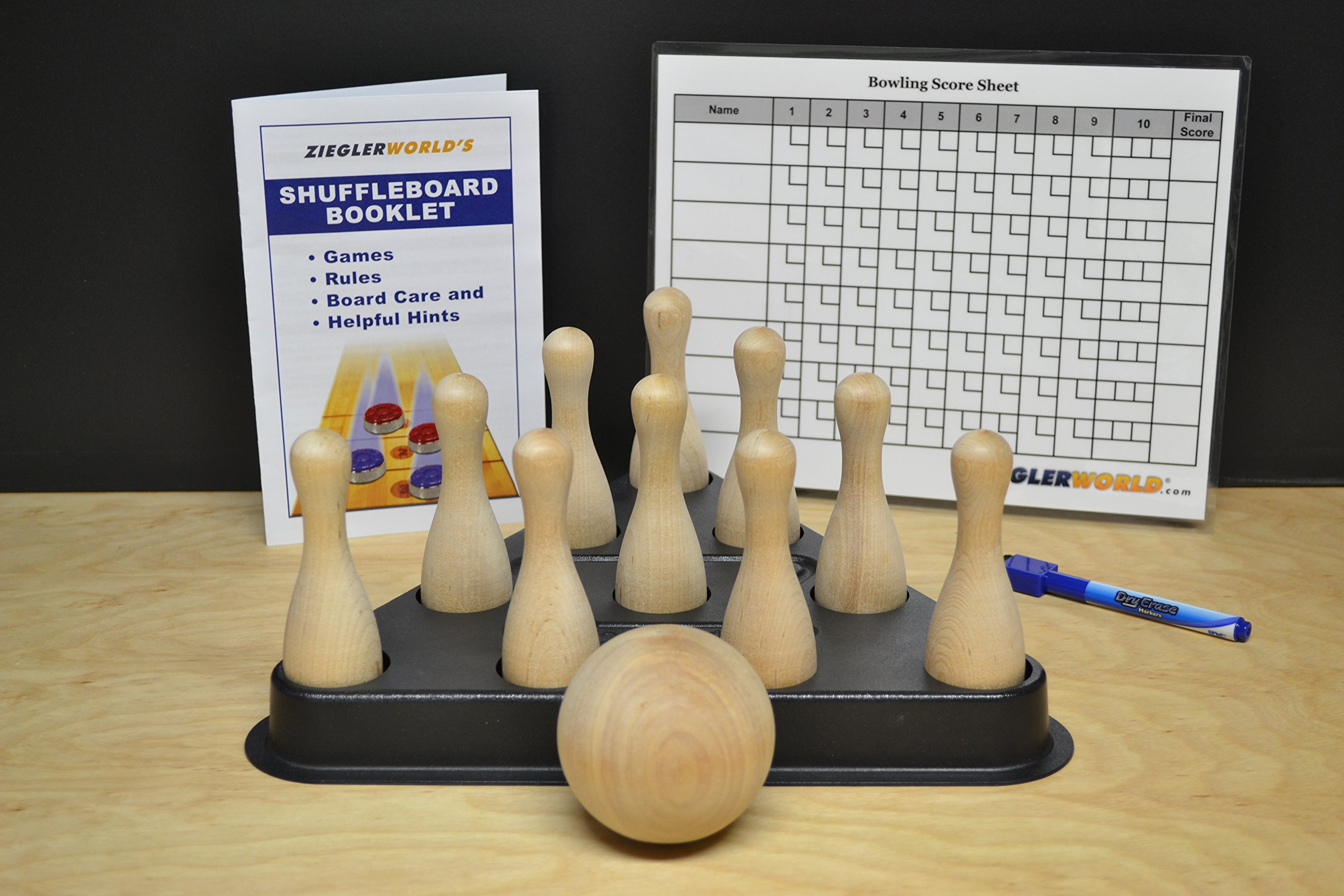 Table Shuffleboard Bowling Brown Pins - Pinsetter - Rules Booklet - Score Chart - Carrier Bag & Wood Ball