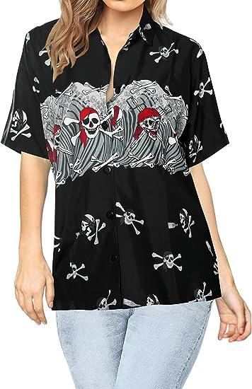 LA LEELA Vintage Piratas Calabaza Skulls Cráneo Cosplay Disfraces De Fiesta De Halloween Costume Mangas Cortas Hawaiano Top Camisetas para Mujer del ...