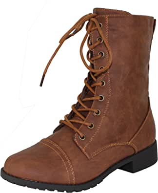 Forever Link Womens Round Toe Military Lace up Knit Ankle Cuff Low Heel Combat Boots
