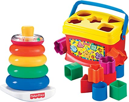 Amazon Com Fisher Price Rock A Stack And Baby S 1st Blocks Bundle Toys Games