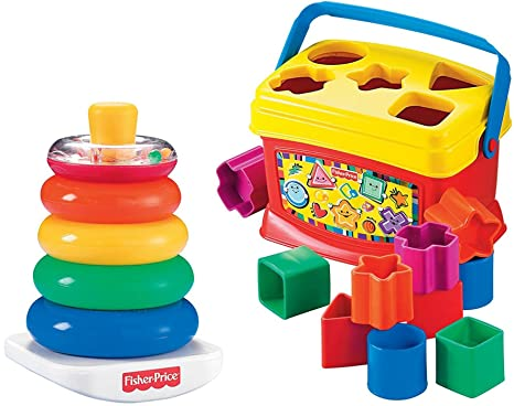 Amazon Com Fisher Price Rock A Stack And Baby S 1st Blocks Bundle