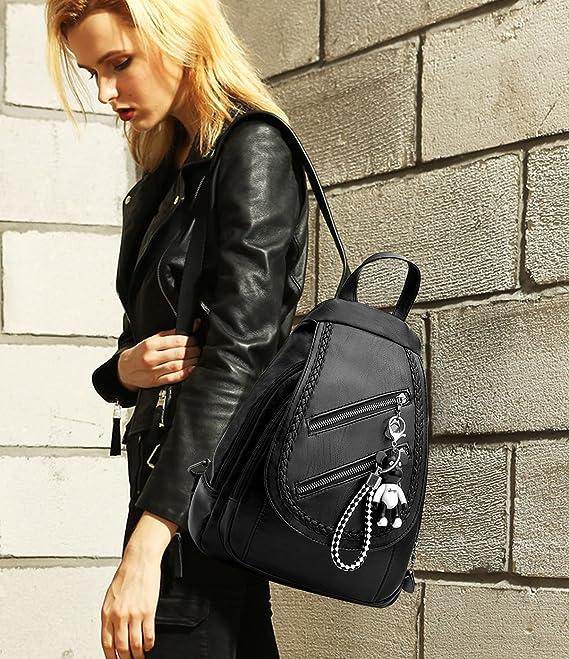 Amazon.com | NICOLE&DORIS Classic Fashion Schoolbag Travel Backpack Women Shoulder Bag Daypack Satchel Girls PU Leather Black | Backpacks