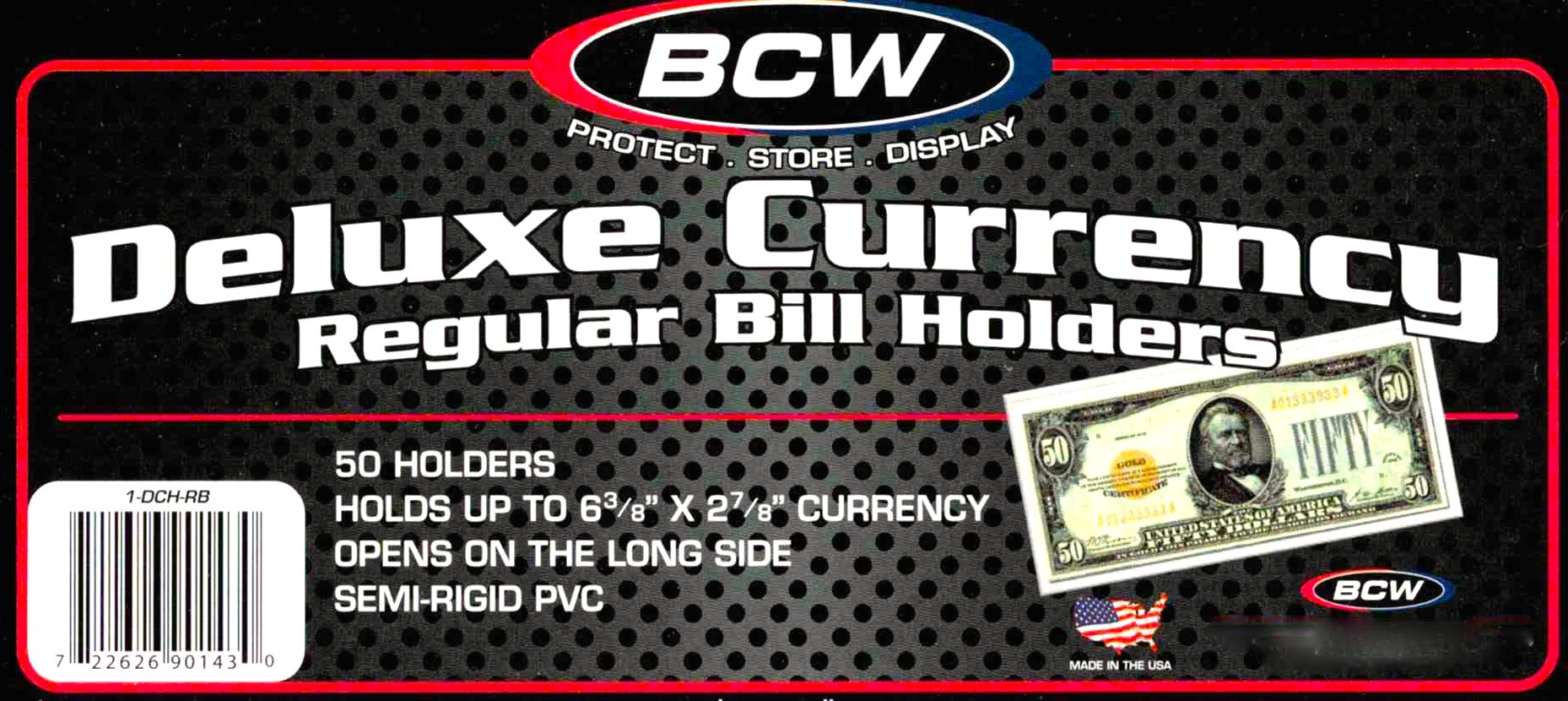 300 Deluxe Semi Rigid Regular Bill Holders - Mailers by BCW