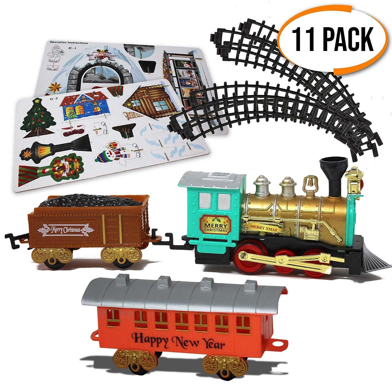 coffret train jouet electrique de no l lot 11 pi ces miniature avec ebay. Black Bedroom Furniture Sets. Home Design Ideas