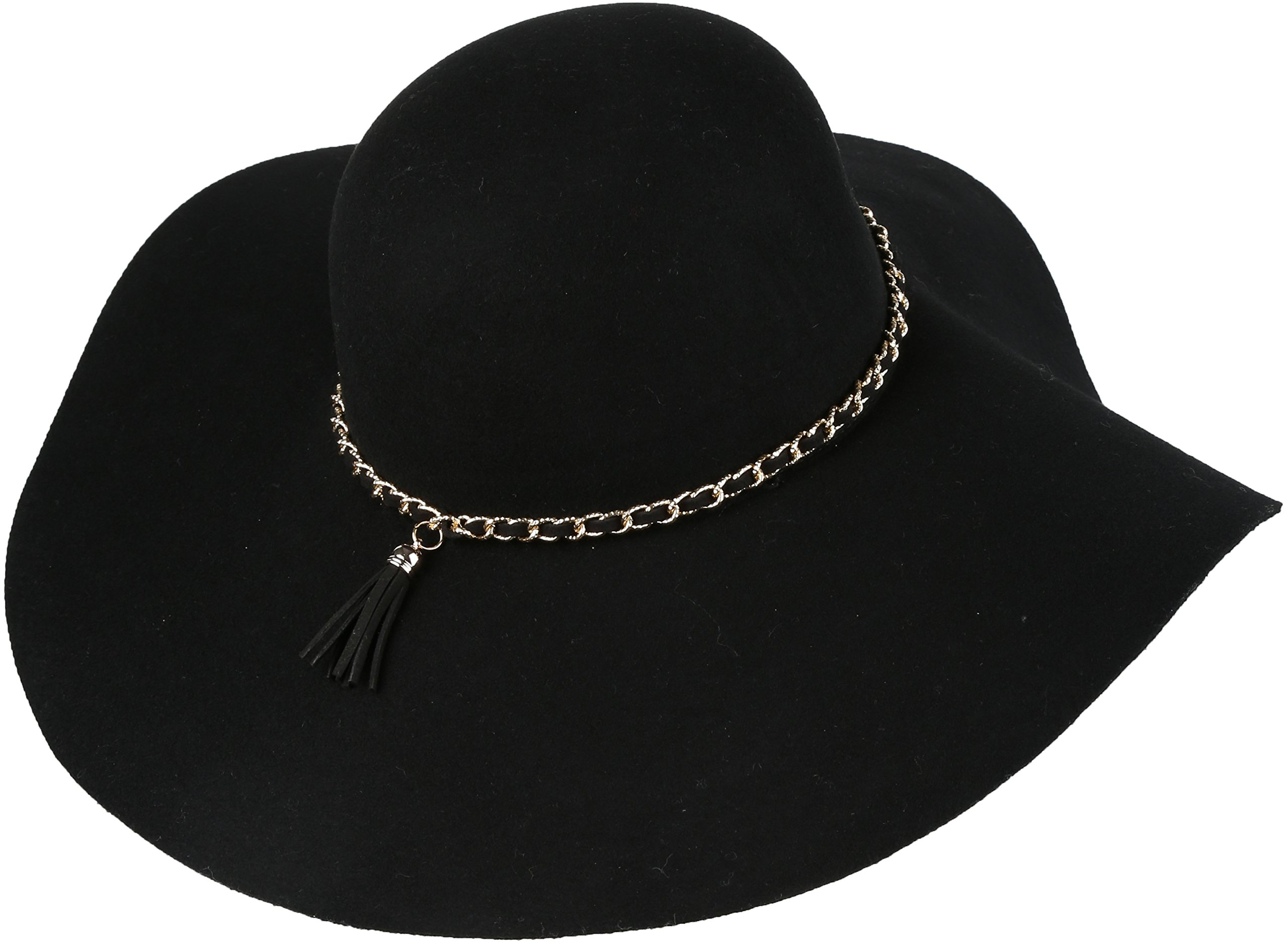 Sakkas 16154 - Liuliu Wide Vintage Style Floppy Hat Removable Interchangeable Bow Ribbon - Black - OS