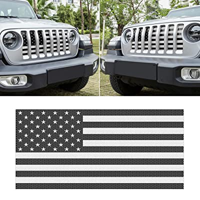 Sunluway Front Grille Mesh Insert Grill Screen US Flag Bug Deflector Net for 2020 2020 Jeep Wrangler JL JLU: Automotive