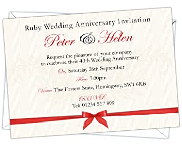 Personalised Ruby Wedding 40th Anniversary Invitations Design Code Rwa 018 Pack Of 20