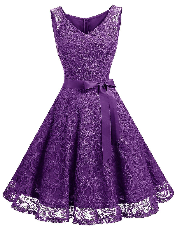 TALLA XS. Dressystar Vestido Corto Elegante Mujer De Encaje Sin Mangas con Lazo para Madrina Fietsa Purple XS