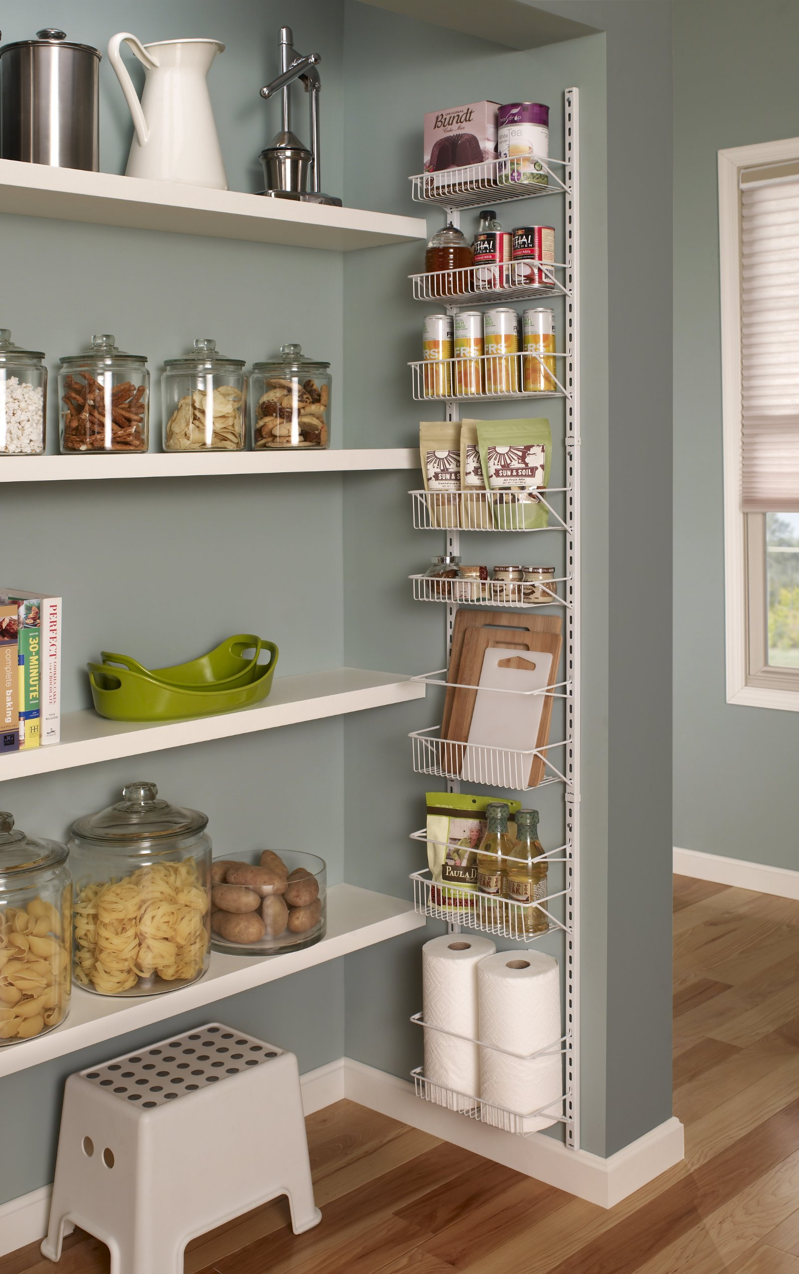 ClosetMaid 1231 Adjustable 8-Tier Wall and Door Rack, 77-Inch Height X 12-Inch Wide,white 4 Store and organize items of various sizes. Easily reposition baskets to accommodate tall and short items. Close wire spacing on baskets keeps items from tilting. Wall and over-the-door solution is perfect for kitchen and pantry organization.