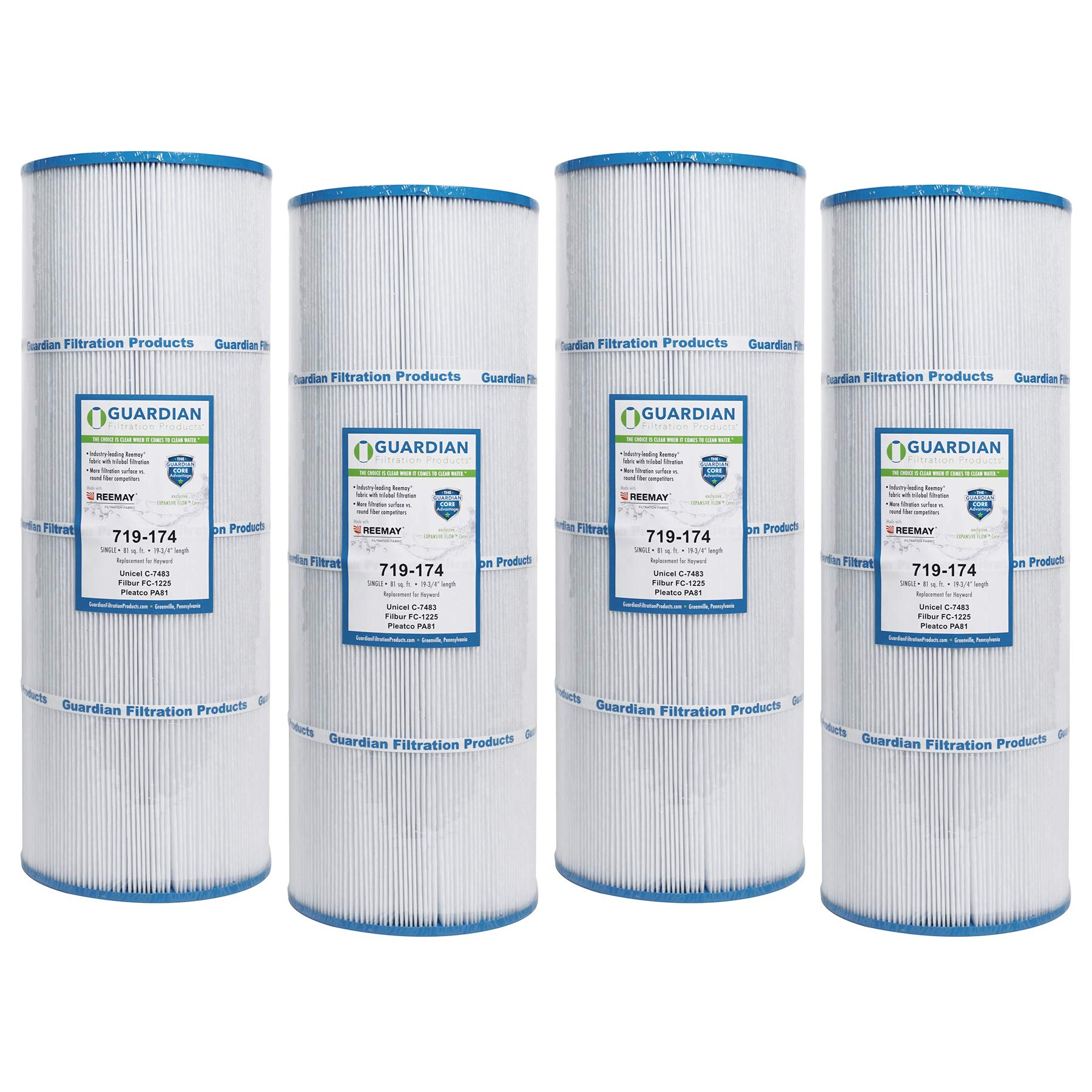 4 Guardian Pool Spa Filter Replaces C-7483 Hayward C3025 CX580XRE PA81 FC-1225 PA81-4, C-3020, C-570 by Guardian Filtration Products