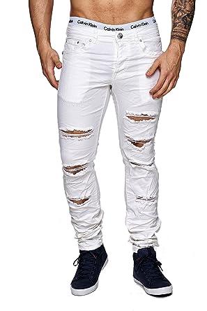 a22fa25d2f01 MEGASTYL Herren Hose Ripped Jeans Weiß Slim-Fit Stretch-Denim  Amazon.de   Bekleidung