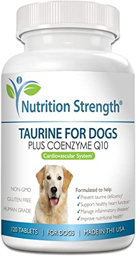 Nutrition Strength Taurine for Dogs, Support for a Healthy Heart Function, Resist Inflammatory Diseases, with Coenzyme Q10 to Help Manage Heart Failure and DCM in Dogs, 120 Chewable Tablets