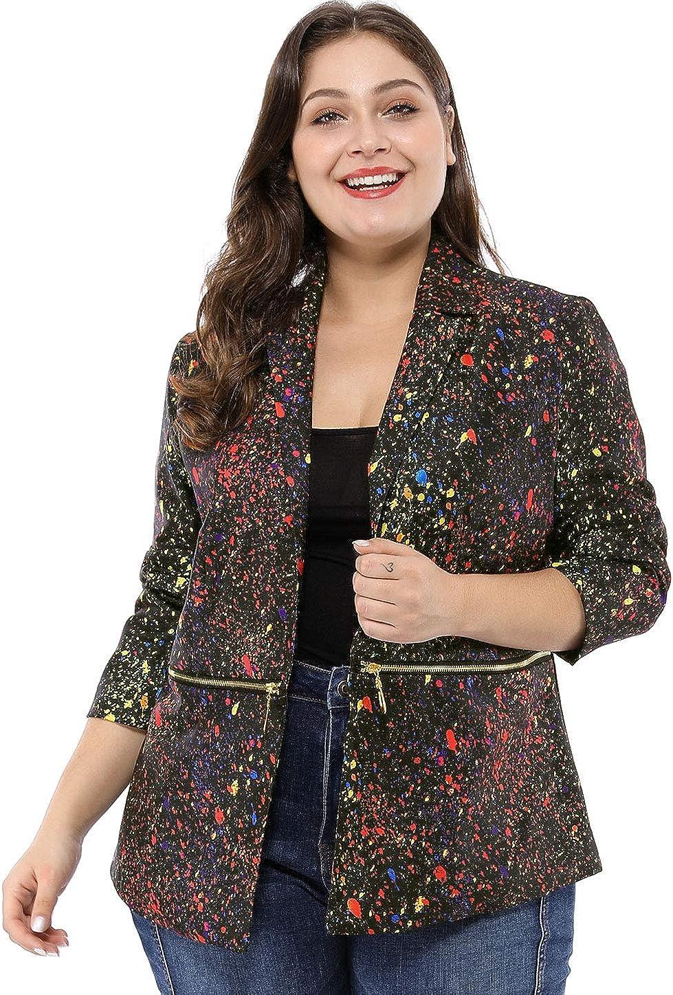 uxcell Women's Plus Size Bomber Jackets Paint Splatter Printed Blazer