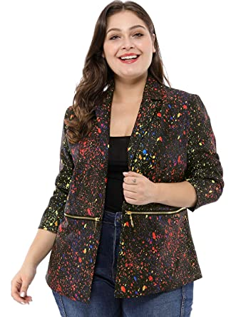 30bfd3d4f32 uxcell Women s Plus Size Zipper Long Sleeve Paint Splatter Printed Blazer  1X Black