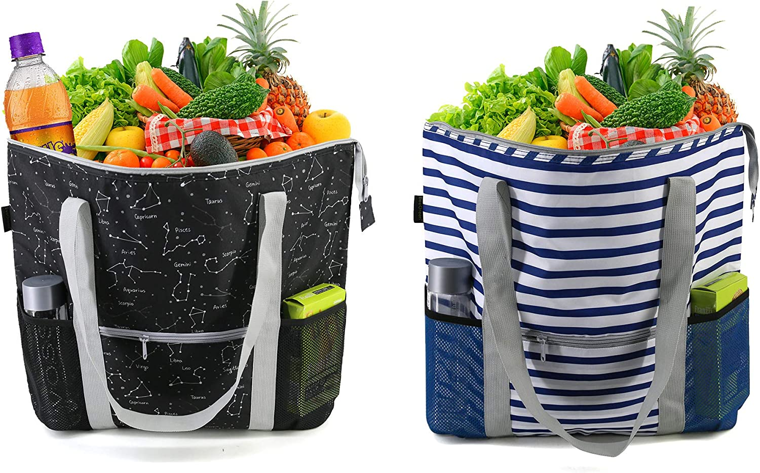 BeeGreen Cooler Tote Bags Bulk 2 Pack insulated Groceries Thermal Baggies for Cold and Hot Food Delivery Heavy Duty Groceries Reusable Freezer Totes with Zippered Top Long Handles Black Blue White