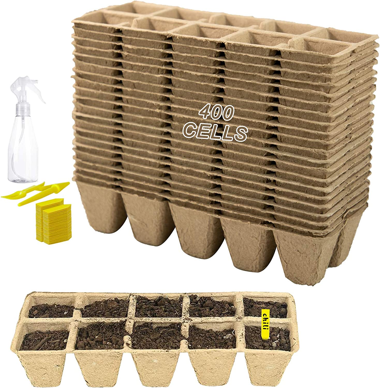 400 Cells Biodegradable Planting Pots 40 Pack Fibre Pot-Seed Seedling Pot-Biodegradable Herb Plant,Flower,Seed Starter Pots Kits, Garden Germination Nursery Pot