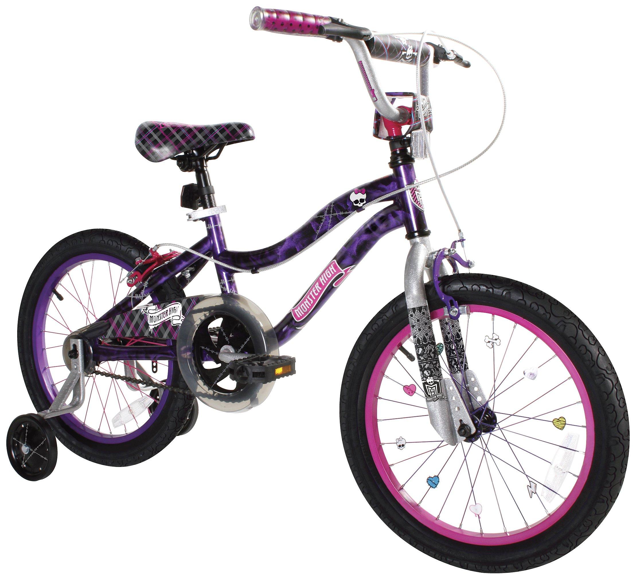 Monster High Dynacraft Girls BMX Street/Dirt Bike 18'', Black/Purple/Pink