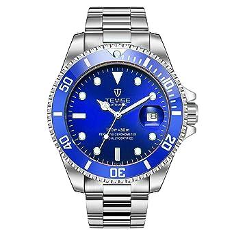 Swiss Luminous Submariner Watch Mens Mechanical Watch Fashion Steel Waterproof Watch (Blue)