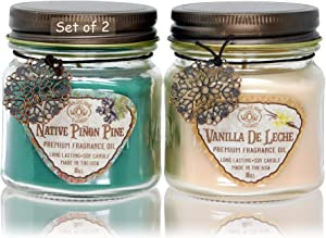 Way OutWest Scented Candles in Piñon Pine & Vanilla de Leche - Gift Ready, Boxed Set of 2 Jar Candles - Fragrant, Long Lasting Soy Wax Blend - Delightful Soothing Fragrances for a Warm, Cozy Home