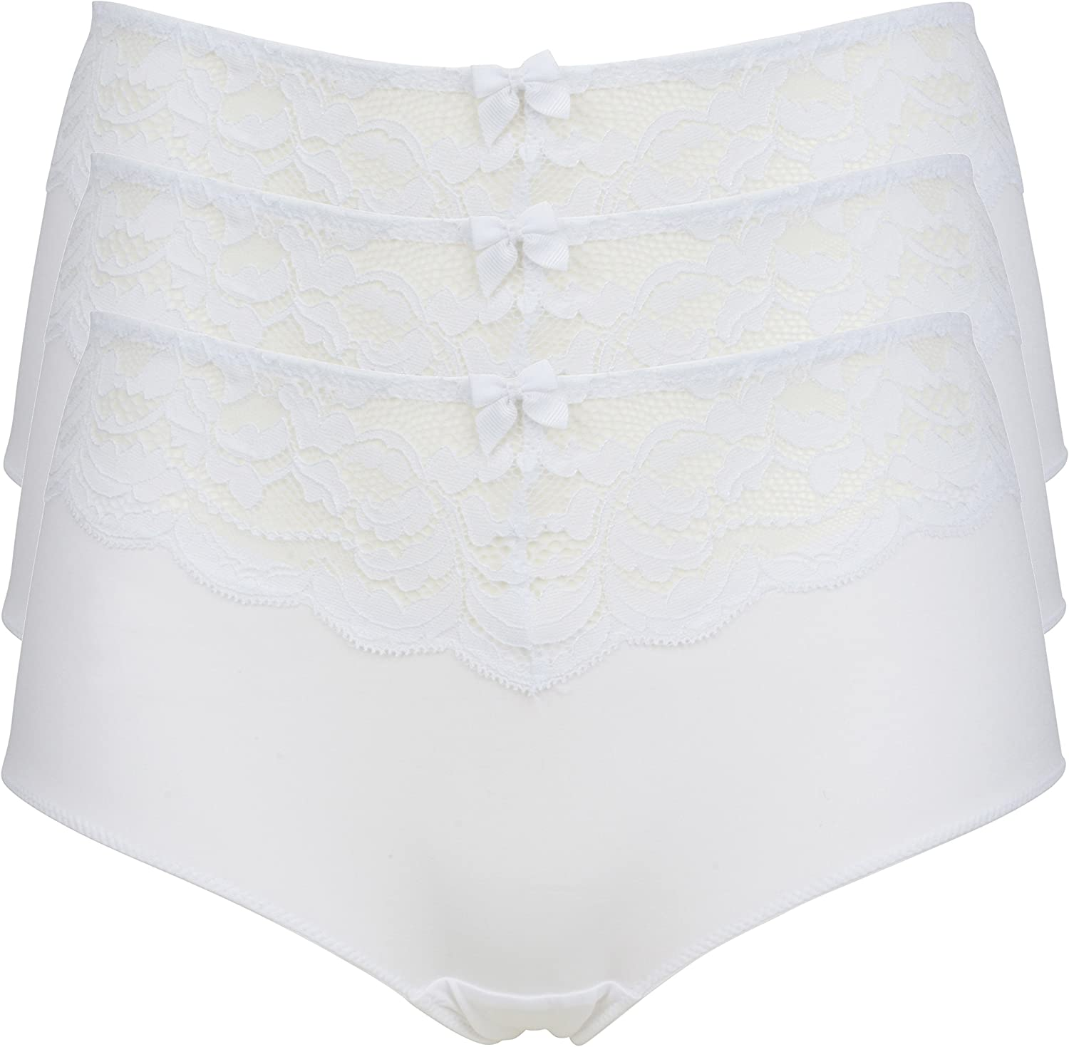 Ex-Store 3 Pack High Rise Ornate Lace and Microfibre Shorts White
