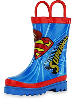 DC Comics Kids Boys Superman Character Printed Waterproof Easy-On Rubber Rain Boots (
