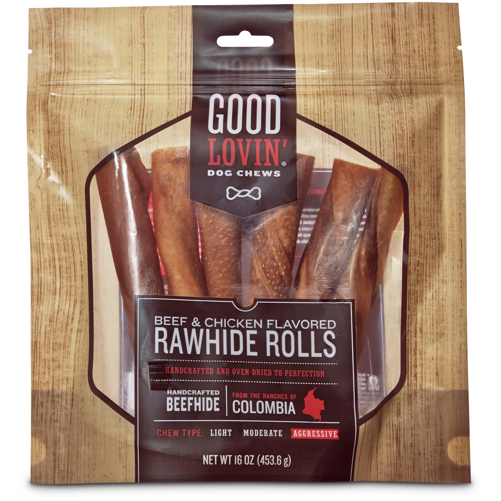 Good Lovin' Beef & Chicken Flavored Rawhide Roll Dog Chews, 16 oz.