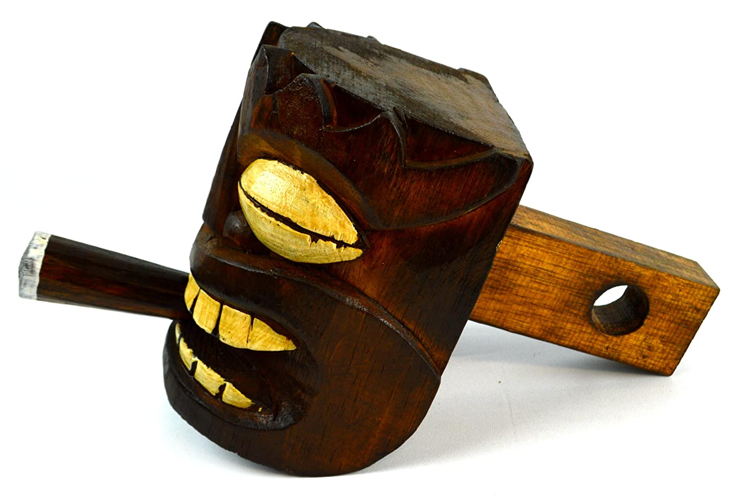 WOOD TIKI HEAD MASK HITCH COVER one of a kind design WITH CIGAR