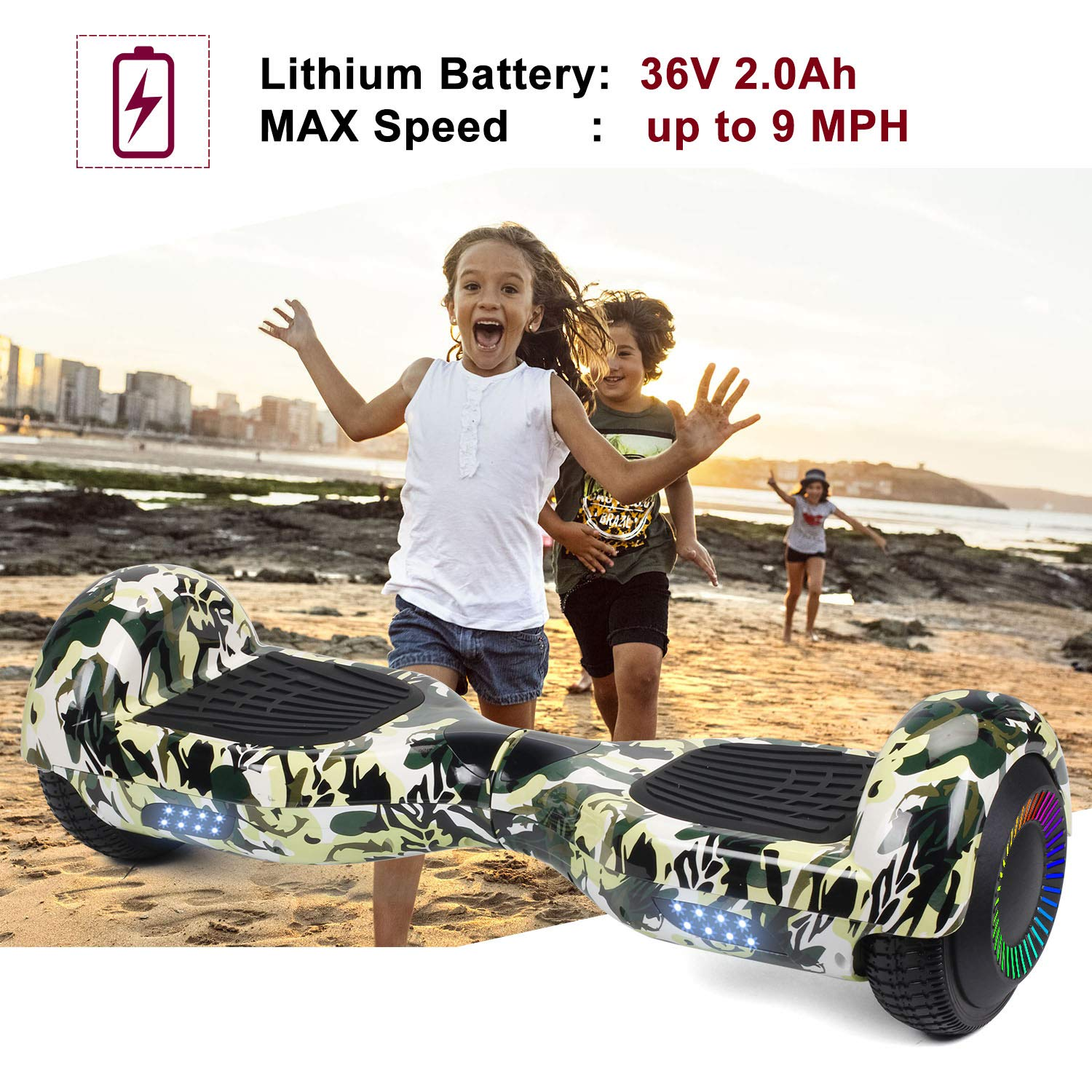 SISIGAD Hoverboard Self Balancing Scooter 6.5'' Two-Wheel Self Balancing Hoverboard with LED Lights Electric Scooter for Adult Kids Gift UL 2272 Certified Fun Edition - Woodland Camo by SISIGAD (Image #3)