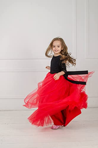 d2ad5a48ef4 Amazon.com  Red and black pageant dress Red tutu Flower girl dress baby girl  dress with bow Princess dress Tulle First communion dress girls lace dress   ...