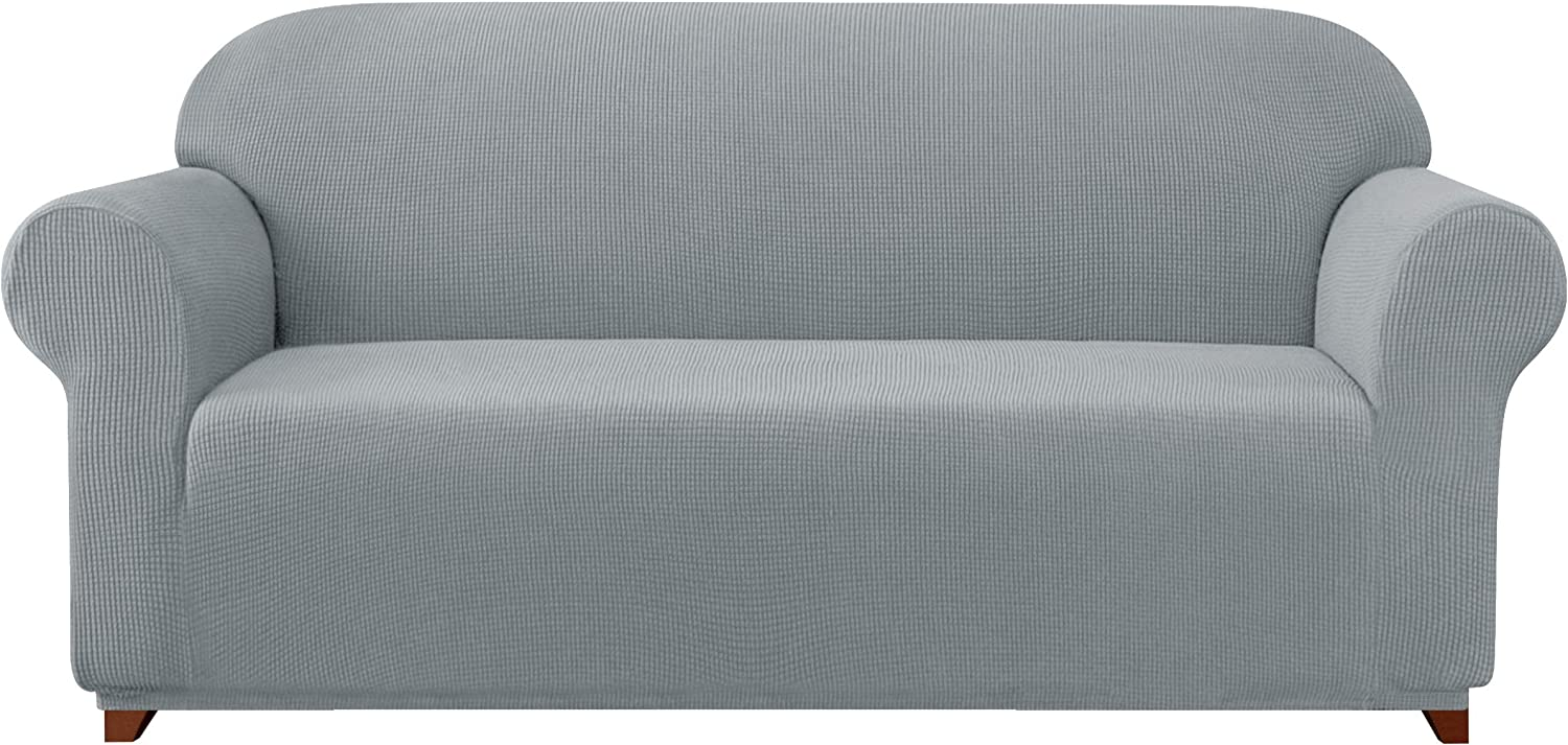 Subrtex Sofa Cover 1-Piece Stretch Couch Slipcover Soft Couch Cover Loveseat Slipcover Armchair Cover Furniture Protector Machine Washable(Large, Light Gray)