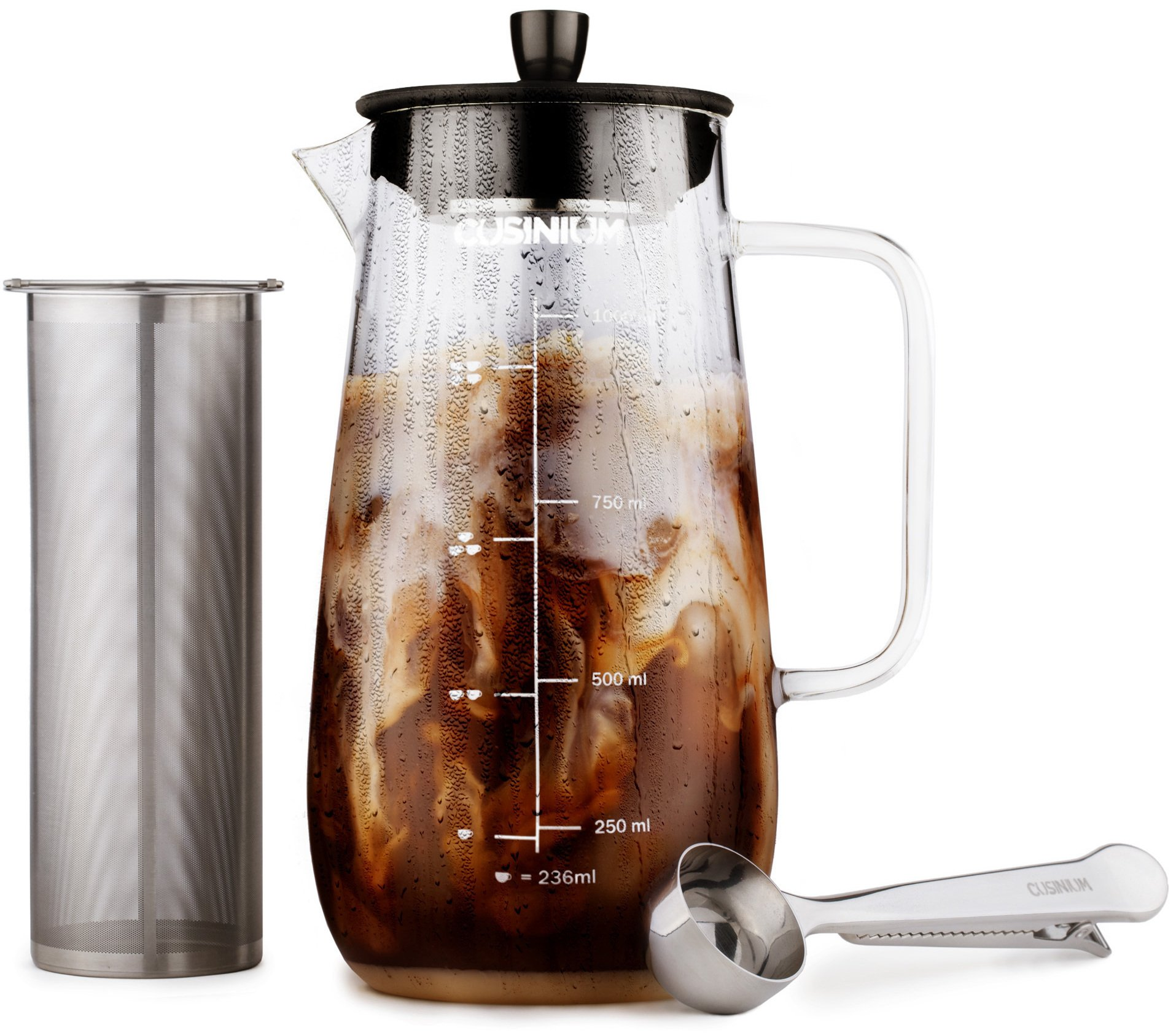 Cold Brewer - Cold Brew Kit - Iced Coffee Maker - Cold Brew Pitcher - Cold Brew Coffee Maker Large - Iced Coffee Pitcher by CUSINIUM